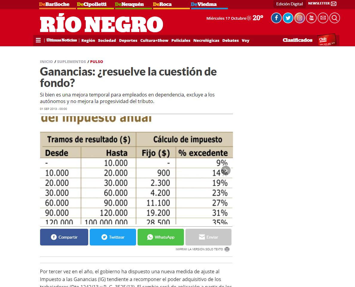 Entrevista diario Río Negro